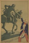 WW1 French poster - Uncle Sam greet French soldier